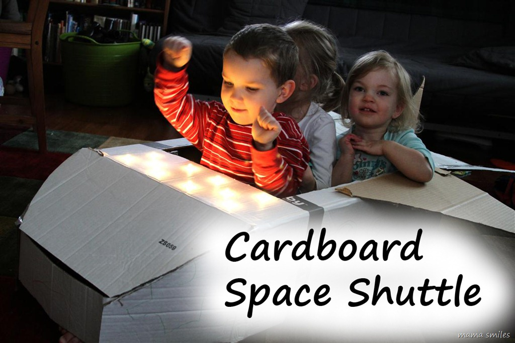 junk modelling - cardboard space shuttle with lights by mamasmiles.com