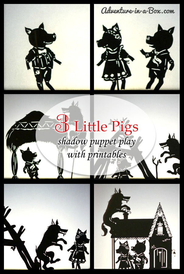 the three little pigs puppet templates - three little pigs shadow puppetry with printables in