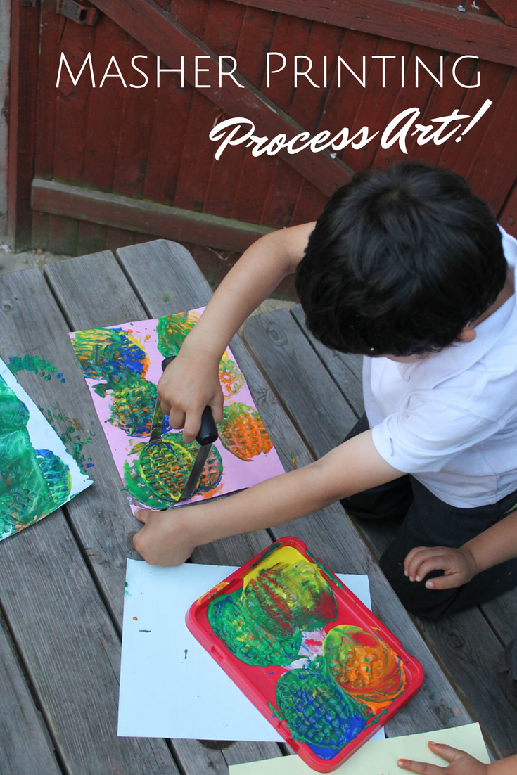 Potato Masher Printing - Process Art paint activity