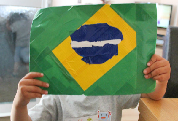 duck tape brazil flag for the world cup