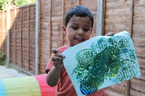 Potato Masher Painting With Kids In The Playroom