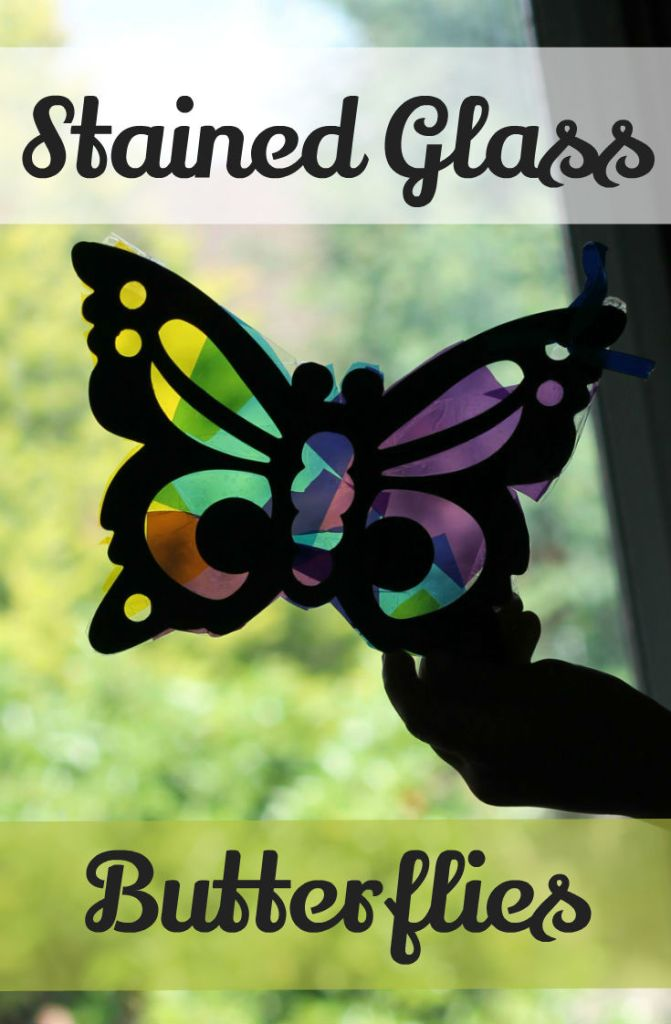 How to make stained glass sun catchers. This butterfly can be easily made even by toddlers