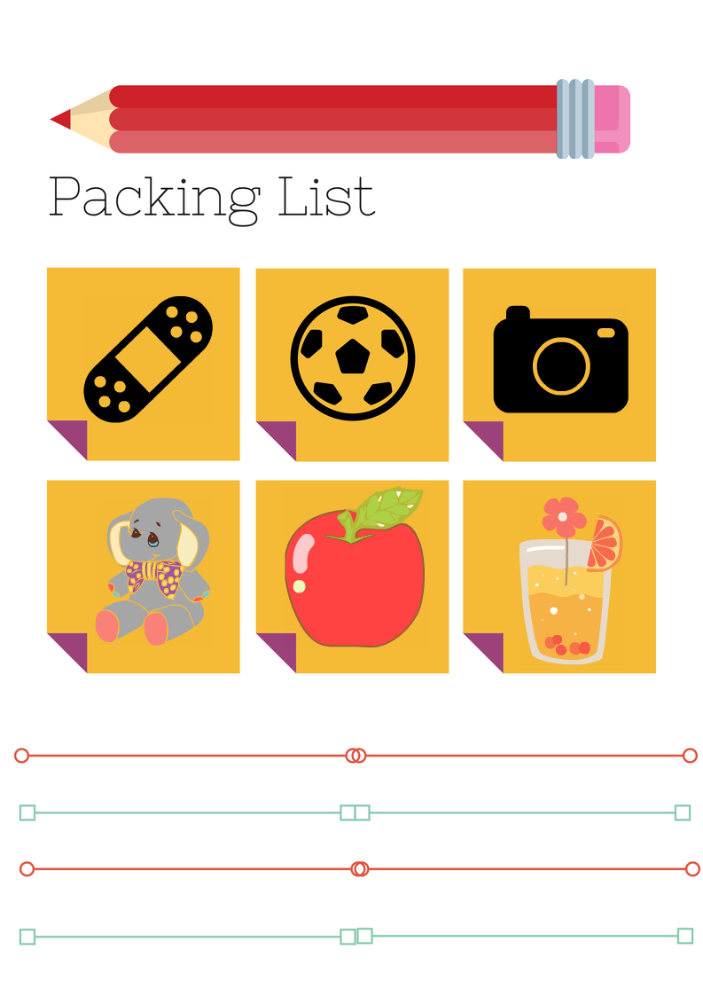 Free printable visual packing list for travelling with kids