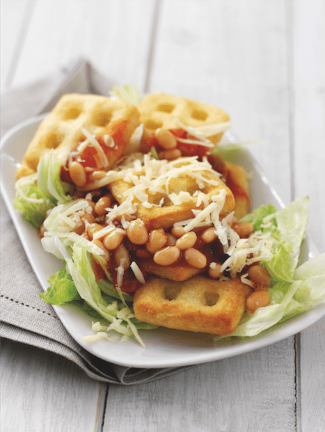 Quick and easy recipe - great for busy days after school. Potato Waffle Nachos