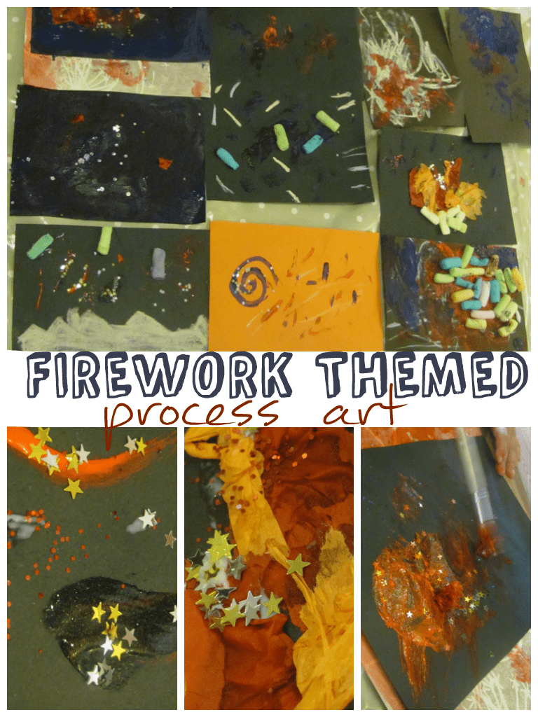 Firework themed process art, craft for firework night & bonfire night or 4th July