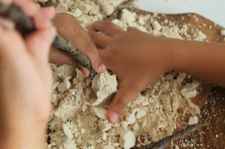 sensory play with moon dough