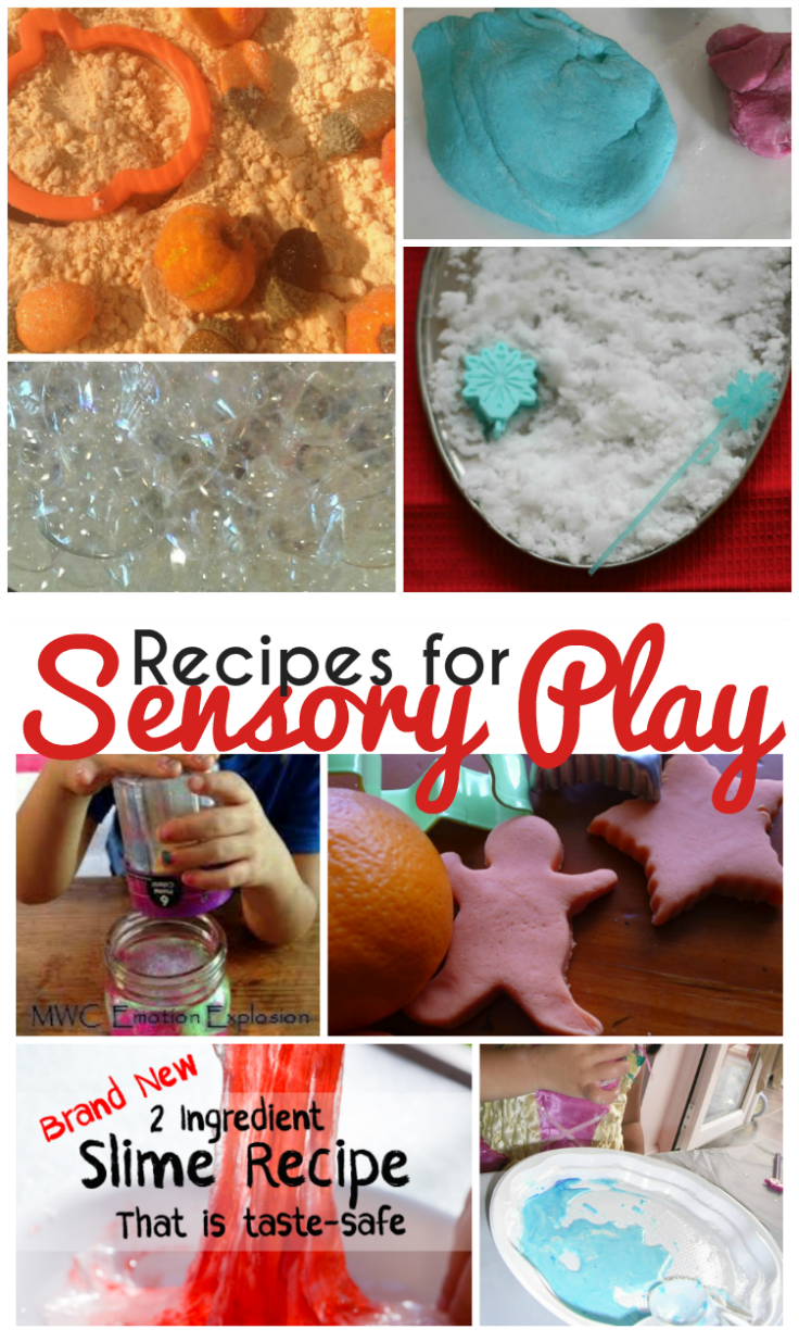 10+ simple recipes for sensory play - playdough, cloud dough, slime, witches brew and more!
