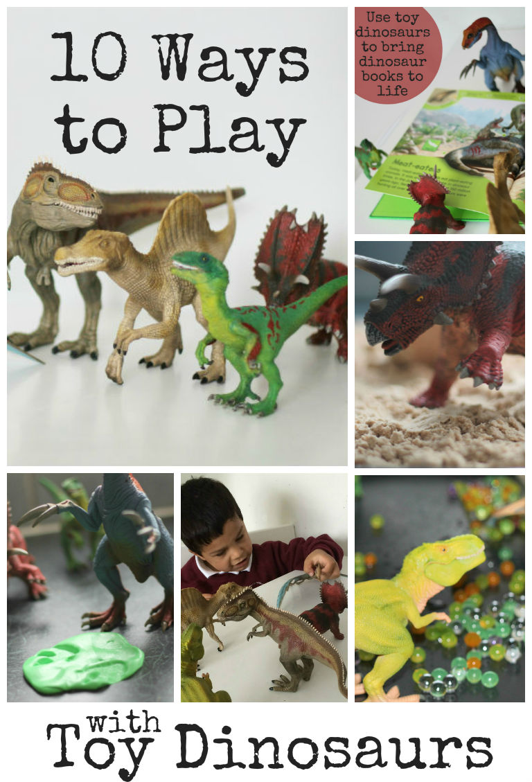 10 ways to play with toy dinosaurs - sensory play ideas, dinosaur games and more. I love these fun ideas!