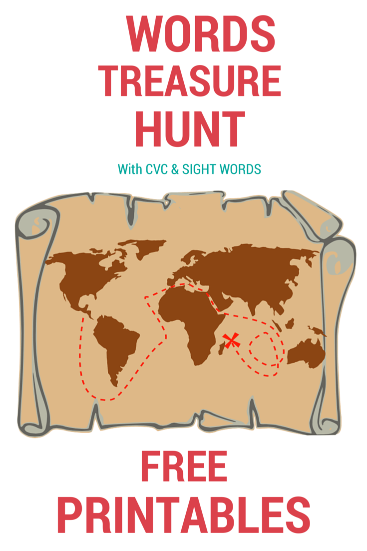 "Words treasure hunt with a focus on the letter X - ""X"" Marks the spot! (Free printables included)"