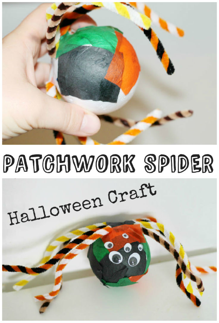Halloween spider craft - this patchwork spider is easy and fun for kids to make! so cool
