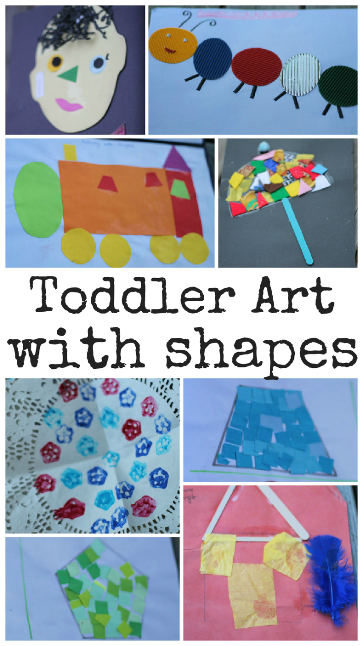 Toddler Art with Shapes. So many fun and easy ideas to create shapes pictures with toddlers