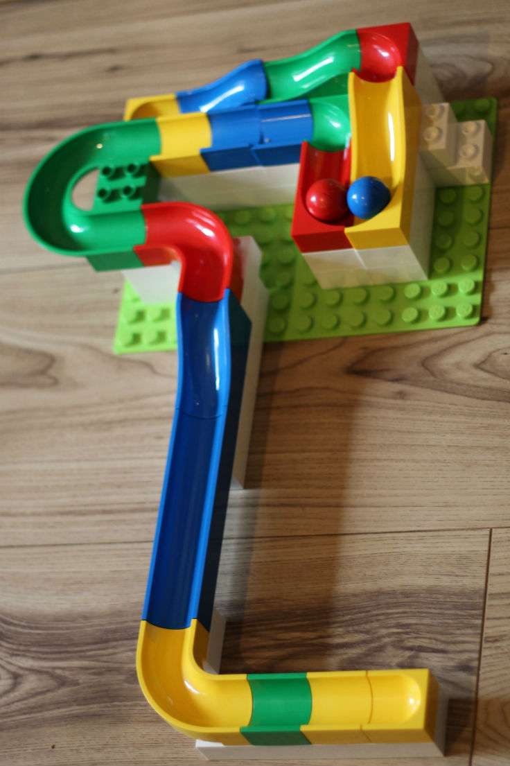 DIY marble run made from Hubelino (like Lego duplo)