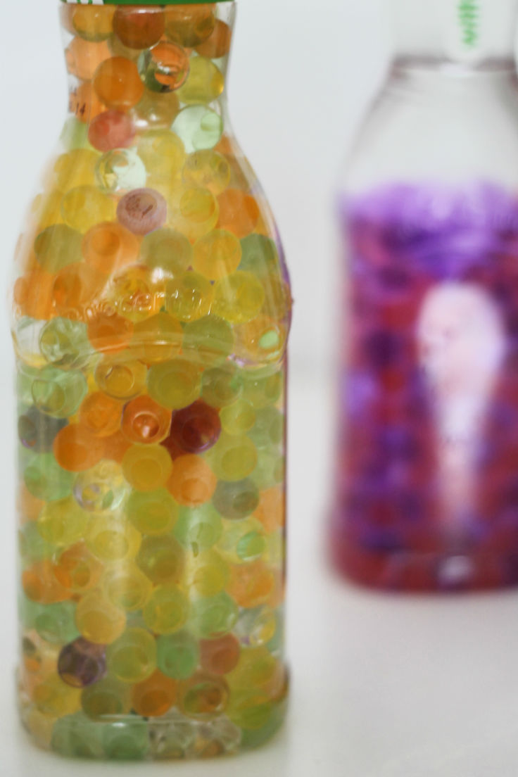 different types of water bead sensory bottles