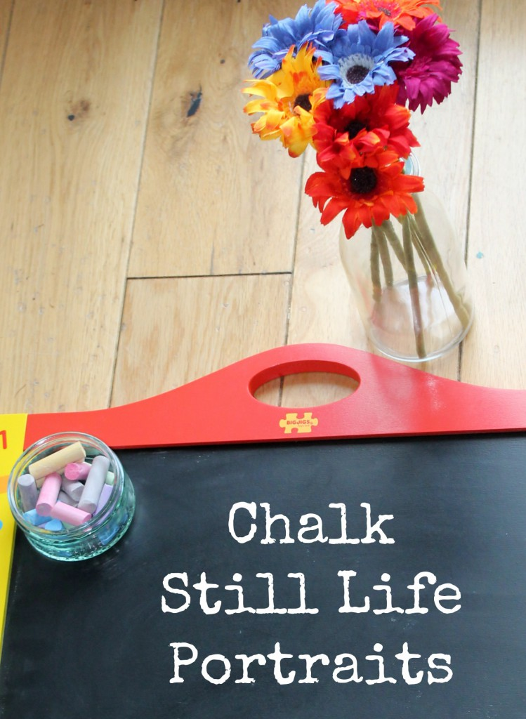 Invitation to create chalk still life portraits. Simple and mess free art activity for kids