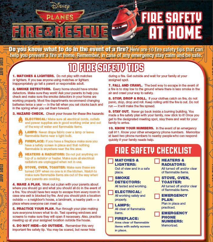 Fire Safety at home - fire safety tips from disney planes 2 fire and rescue