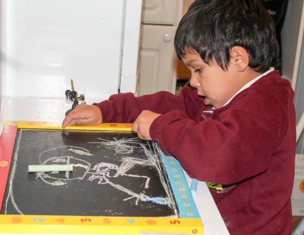 still life chalk portraits with skylanders