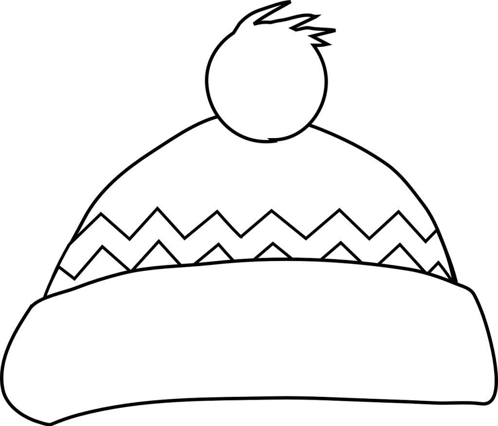 winter bobble hat colouring sheet