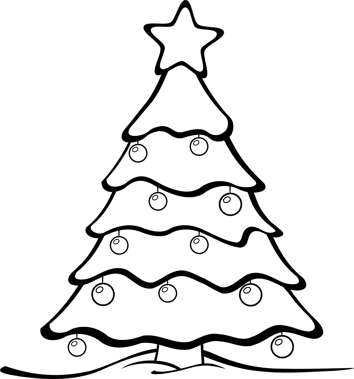 Colouring in xmas tree - Christmas Tree Colouring Page
