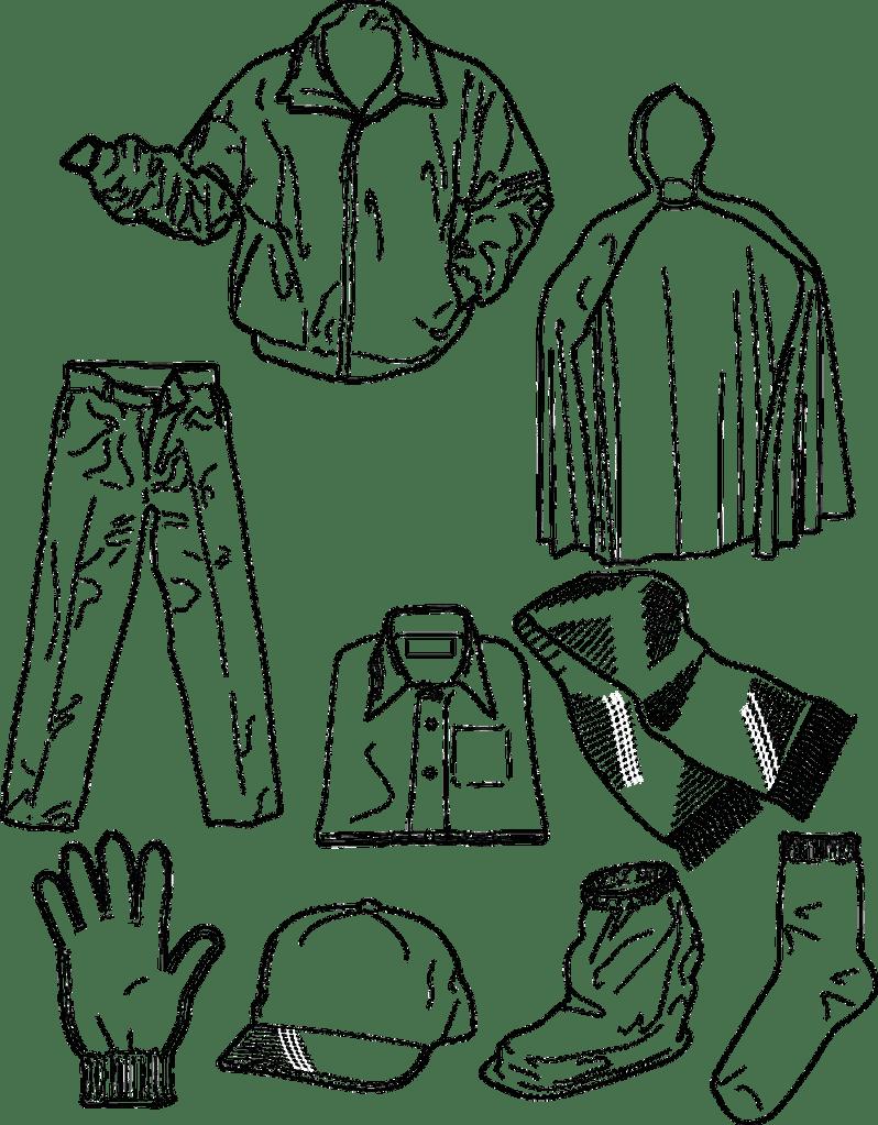 clothing colouring sheet printable