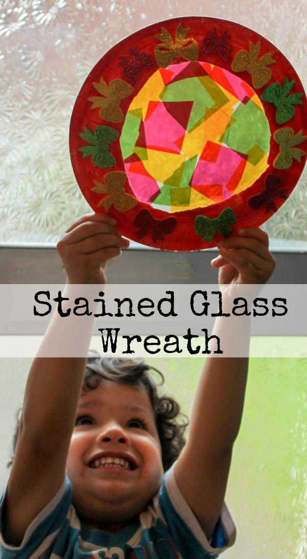 paper plate stained glass wreath festive craft for kids