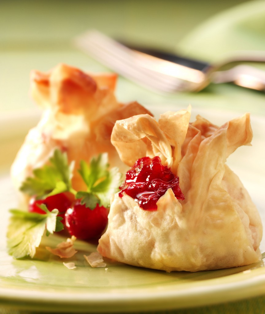 Cheese & Cranberry Filo Parcels - a great party food recipe for buffets