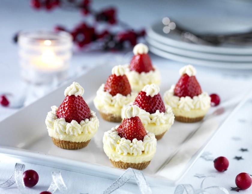 Santa Hat Cheese Cakes Mini Desserts for Christmas Easy No Bake Cheesecake Recipe