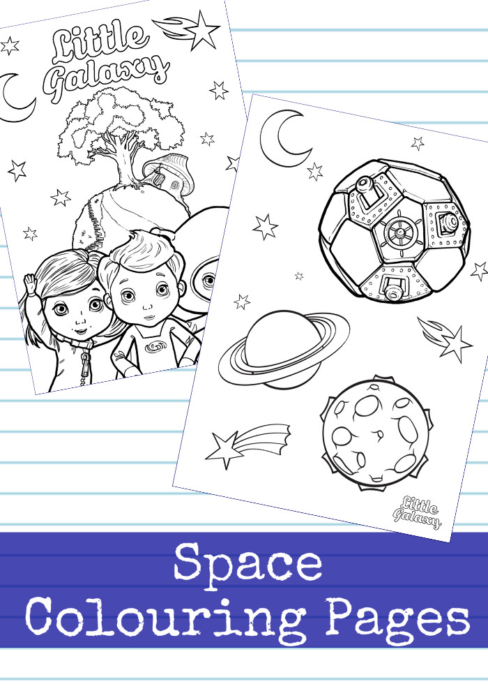 Little Galaxy printables : space themed colouring pages