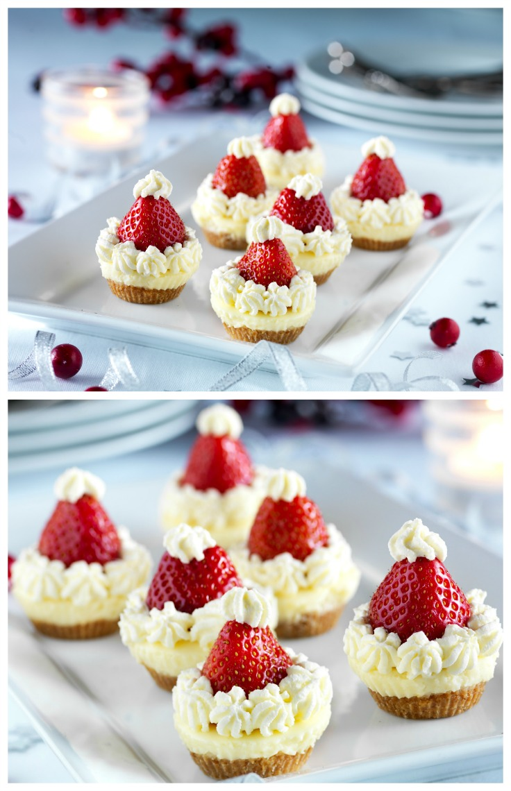 Santa's cheesecakes - Easy no bake Christmas dessert recipe