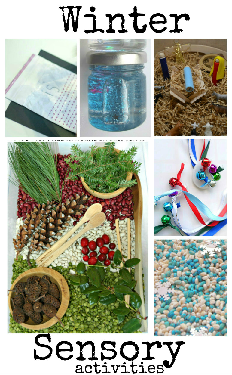 winter sensory activities - sensory bins, sensory bags, sensory jars and more