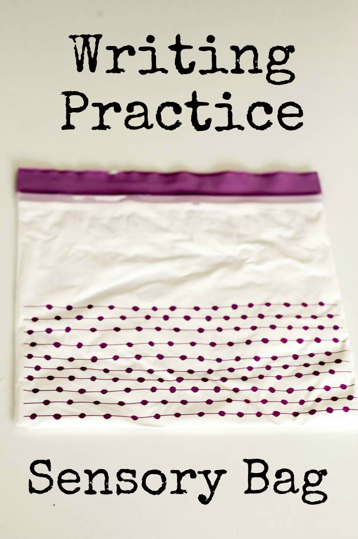 Easy to make sensory bag for writing practice - a great way to practice mark making and letter formation over and over again!