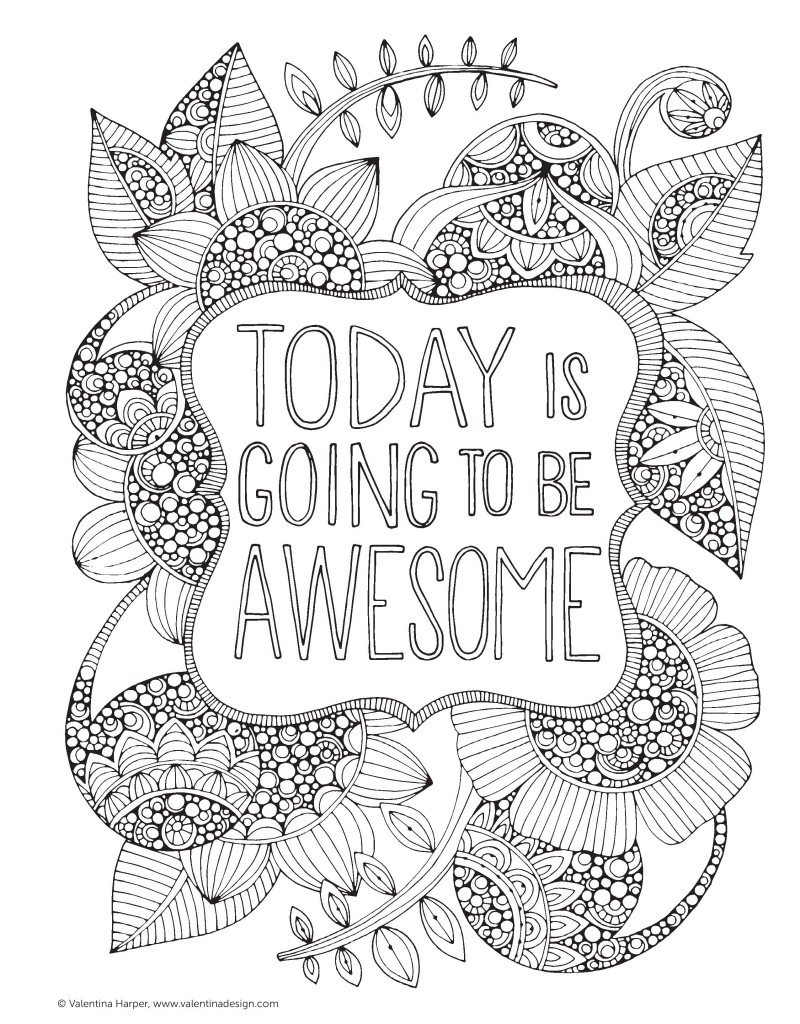 free adult coloring pages, Today is going to be awesome : Creative Coloring Inspirations Printable colouring page