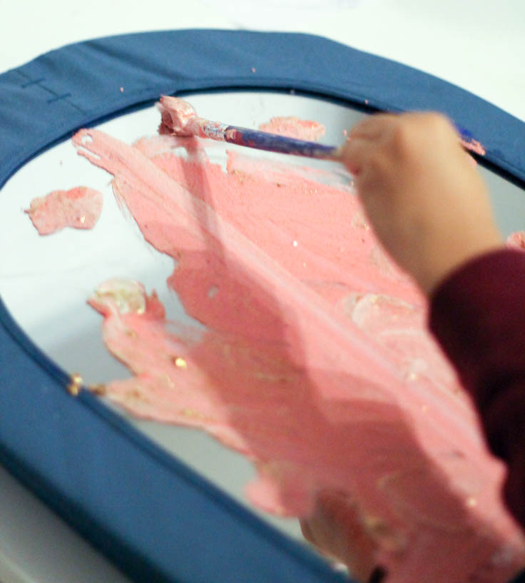 pink glittery valentines mirror painting