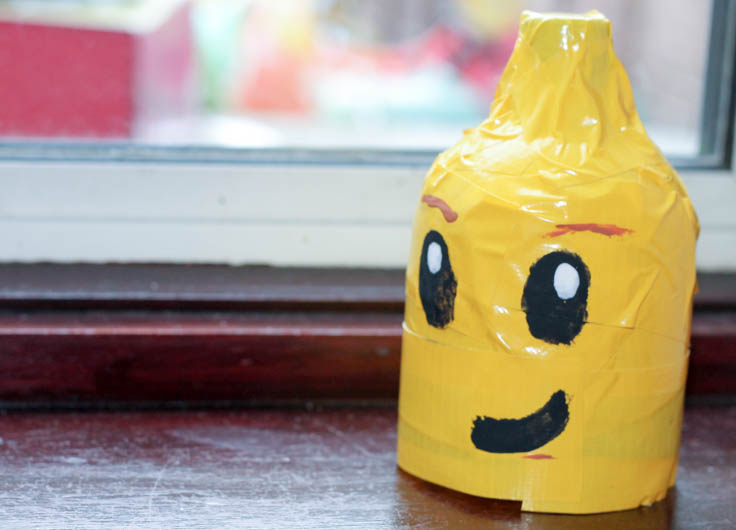 Lego head made from a soda bottle