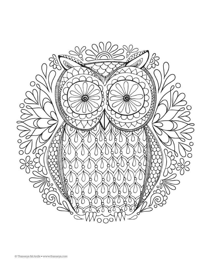 Free Adult Coloring Pages Owl Design Nature Mandalas Printable Colouring Page