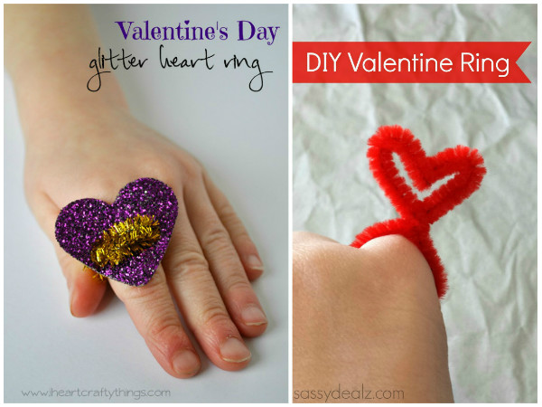 Valentines ring crafts for kids to make and wear