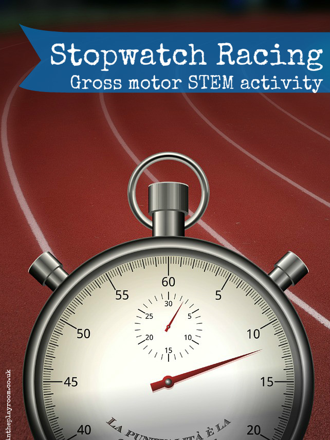Stop watch racing gross motor STEM activity with printable