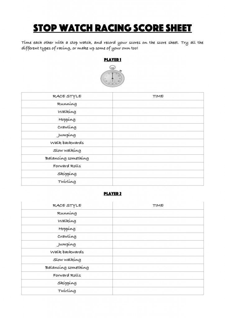 Stop watch racing score sheet printable