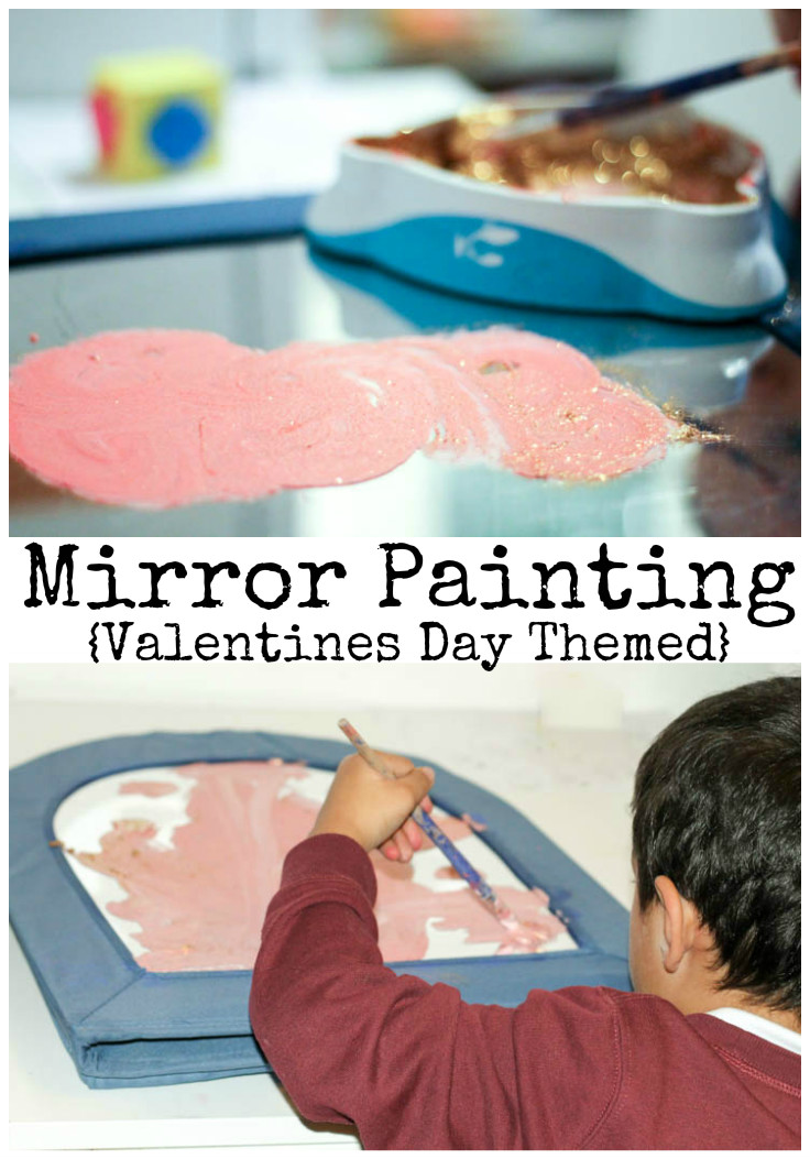 Valentines day themed mirror painting