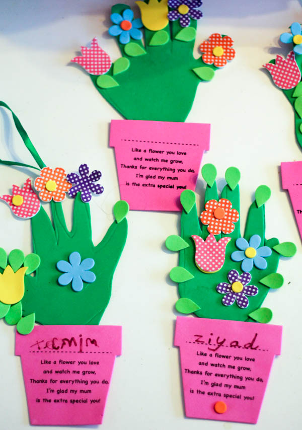Handprint Flower Pot Craft For Mothers Day In The Playroom
