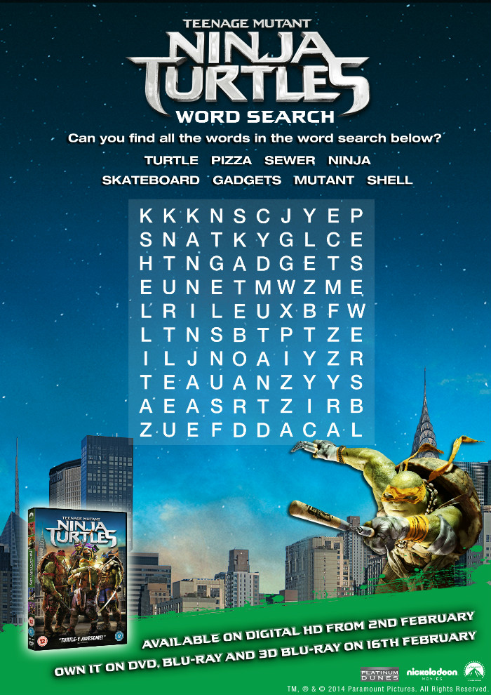 Teenage mutant ninja turtles printable activity sheet TMNT wordsearch