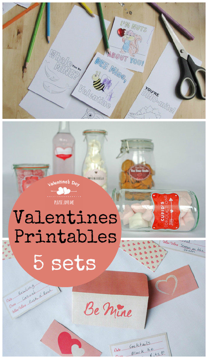 5 free sets of Valentines day printables including date night cards, cupcake flags, gift tags and labels for food gifts
