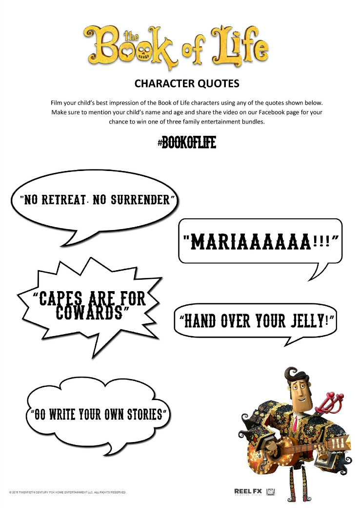 the book of life character quotes and movie saying printable