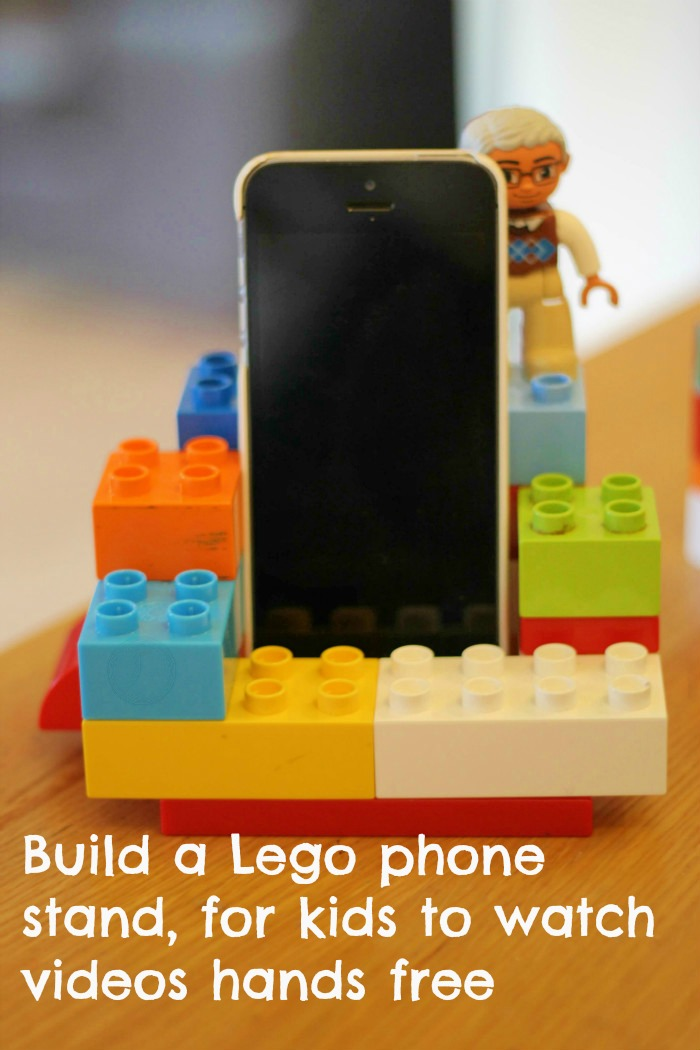 Build a Lego phone holder for children to watch videos without holding the phone and reduce the risk of dropping or breaking