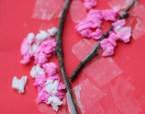 ripping and scrunching tissue to make a blossom tree craft