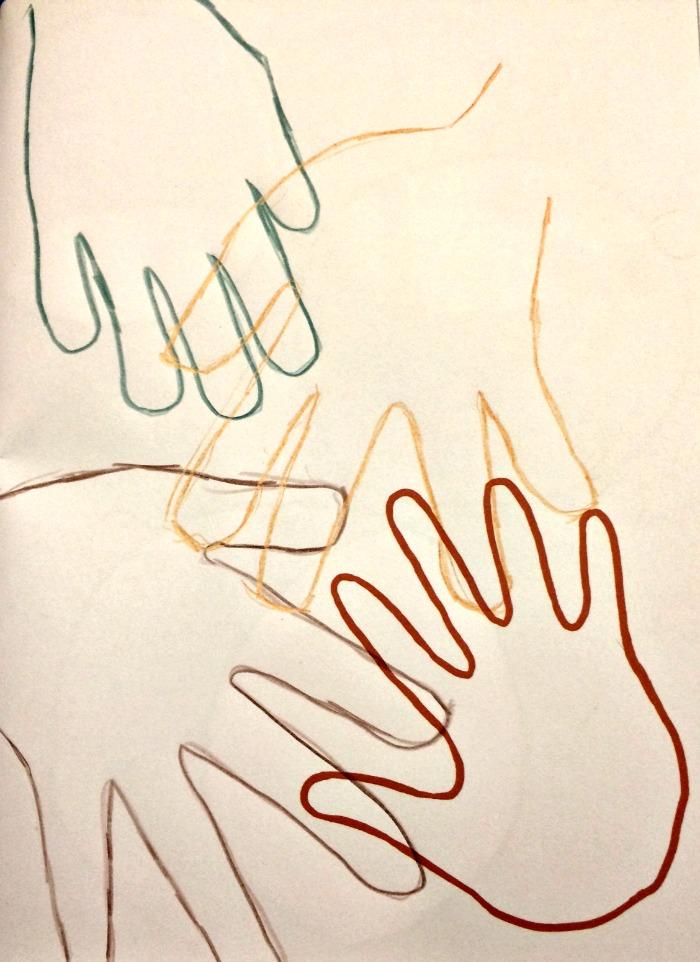 interlocking handprints