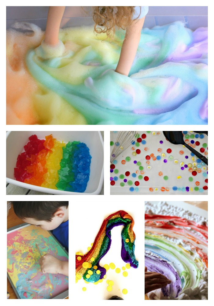 Rainbow sensory play. Wet materials for sensory play - foam, oobleck, slime and more - all the things that are wet or squishy or gooey