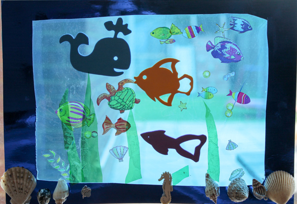 Under water ocean scene on the window