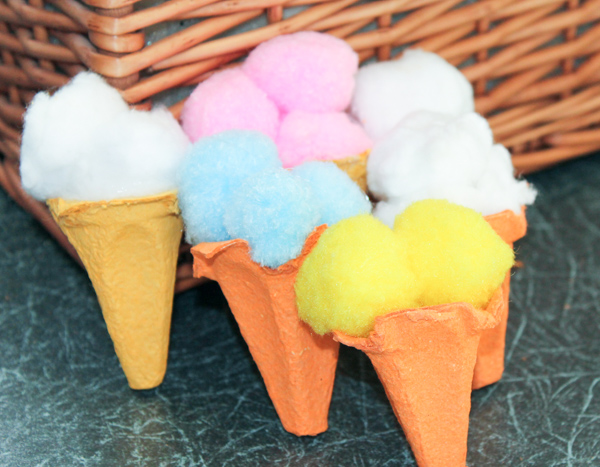 Egg carton ice cream cones summer craft for kids