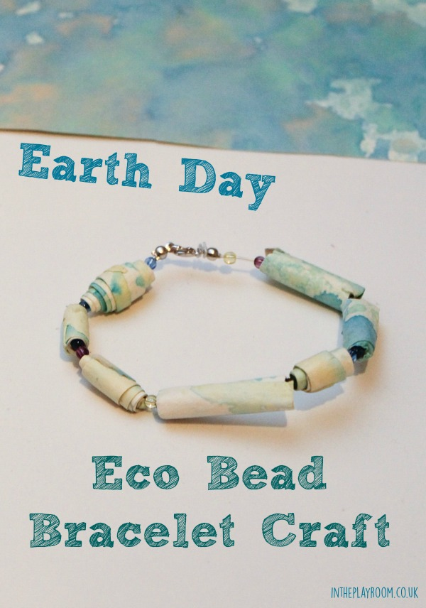 Earth day eco bead bracelet craft made from recycled kids art
