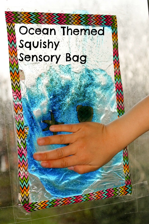 Ocean sensory window made using a squishy gel sensory bag. It's so relaxing!